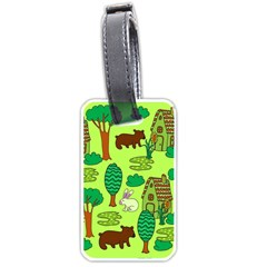 Kids House Rabbit Cow Tree Flower Green Luggage Tags (Two Sides)