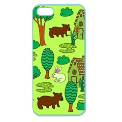 Kids House Rabbit Cow Tree Flower Green Apple Seamless iPhone 5 Case (Color)