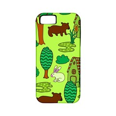 Kids House Rabbit Cow Tree Flower Green Apple iPhone 5 Classic Hardshell Case (PC+Silicone)