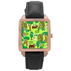 Kids House Rabbit Cow Tree Flower Green Rose Gold Leather Watch