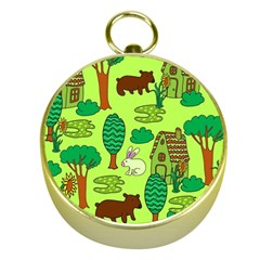 Kids House Rabbit Cow Tree Flower Green Gold Compasses