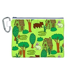 Kids House Rabbit Cow Tree Flower Green Canvas Cosmetic Bag (L)