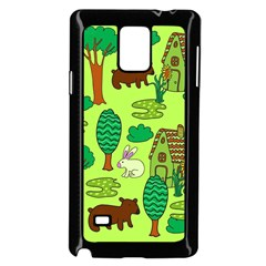 Kids House Rabbit Cow Tree Flower Green Samsung Galaxy Note 4 Case (Black)