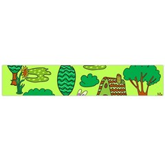 Kids House Rabbit Cow Tree Flower Green Flano Scarf (large)
