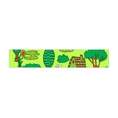 Kids House Rabbit Cow Tree Flower Green Flano Scarf (Mini)
