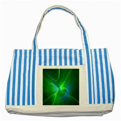 Line Green Light Striped Blue Tote Bag