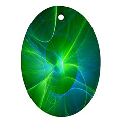 Line Green Light Oval Ornament (Two Sides)