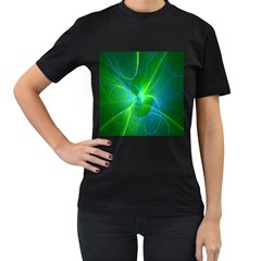 Line Green Light Women s T-Shirt (Black)