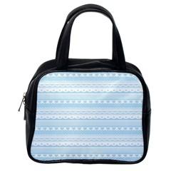 Love Heart Valentine Blue Star Woven Wave Fabric Chevron Classic Handbags (One Side)