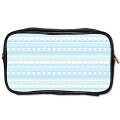 Love Heart Valentine Blue Star Woven Wave Fabric Chevron Toiletries Bags 2-Side