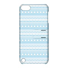 Love Heart Valentine Blue Star Woven Wave Fabric Chevron Apple iPod Touch 5 Hardshell Case with Stand