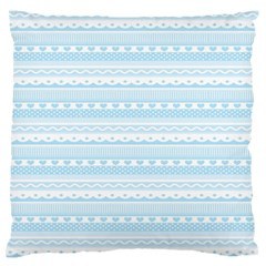 Love Heart Valentine Blue Star Woven Wave Fabric Chevron Large Flano Cushion Case (one Side)
