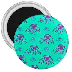 Jellyfish Pink Green Blue Tentacel 3  Magnets