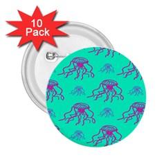 Jellyfish Pink Green Blue Tentacel 2.25  Buttons (10 pack)