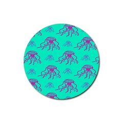 Jellyfish Pink Green Blue Tentacel Rubber Coaster (Round)