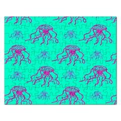 Jellyfish Pink Green Blue Tentacel Rectangular Jigsaw Puzzl