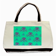 Jellyfish Pink Green Blue Tentacel Basic Tote Bag