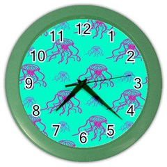 Jellyfish Pink Green Blue Tentacel Color Wall Clocks