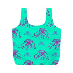 Jellyfish Pink Green Blue Tentacel Full Print Recycle Bags (m)