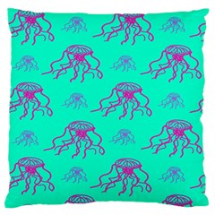 Jellyfish Pink Green Blue Tentacel Large Flano Cushion Case (Two Sides)