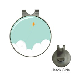 Minimalis Kite Clouds Orange Blue Sky Hat Clips with Golf Markers