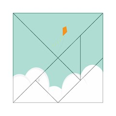 Minimalis Kite Clouds Orange Blue Sky Acrylic Tangram Puzzle (6  x 6 )