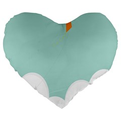 Minimalis Kite Clouds Orange Blue Sky Large 19  Premium Flano Heart Shape Cushions