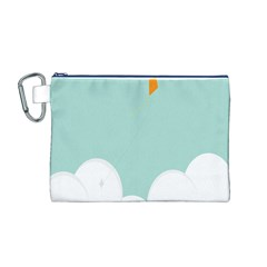 Minimalis Kite Clouds Orange Blue Sky Canvas Cosmetic Bag (M)