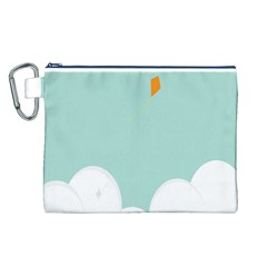 Minimalis Kite Clouds Orange Blue Sky Canvas Cosmetic Bag (L)