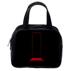 Mistery Door Light Black Red Classic Handbags (One Side)