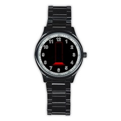 Mistery Door Light Black Red Stainless Steel Round Watch