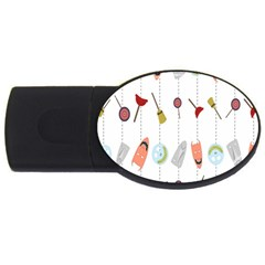 Mask Face Broom Candy Smile Helloween USB Flash Drive Oval (2 GB)