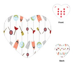 Mask Face Broom Candy Smile Helloween Playing Cards (Heart)