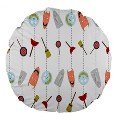 Mask Face Broom Candy Smile Helloween Large 18  Premium Flano Round Cushions
