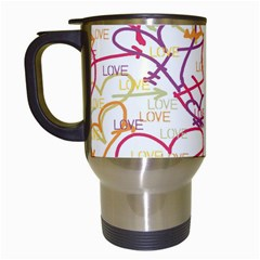 Love Heart Valentine Rainbow Color Purple Pink Yellow Green Travel Mugs (White)