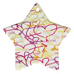 Love Heart Valentine Rainbow Color Purple Pink Yellow Green Star Ornament (Two Sides)