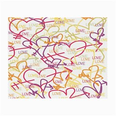 Love Heart Valentine Rainbow Color Purple Pink Yellow Green Small Glasses Cloth (2-Side)