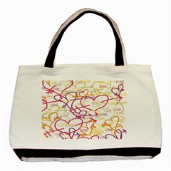 Love Heart Valentine Rainbow Color Purple Pink Yellow Green Basic Tote Bag (two Sides)