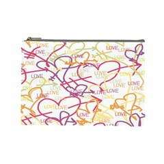 Love Heart Valentine Rainbow Color Purple Pink Yellow Green Cosmetic Bag (Large)