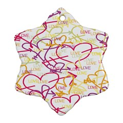 Love Heart Valentine Rainbow Color Purple Pink Yellow Green Snowflake Ornament (two Sides)
