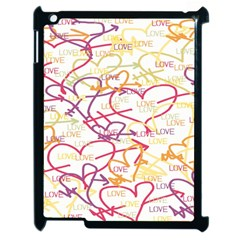 Love Heart Valentine Rainbow Color Purple Pink Yellow Green Apple iPad 2 Case (Black)