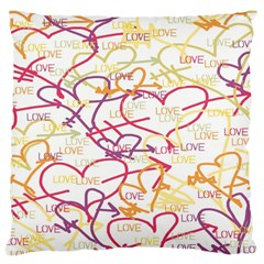 Love Heart Valentine Rainbow Color Purple Pink Yellow Green Large Cushion Case (Two Sides)