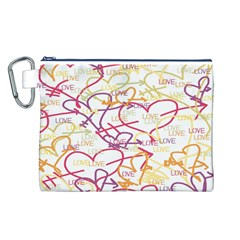 Love Heart Valentine Rainbow Color Purple Pink Yellow Green Canvas Cosmetic Bag (L)