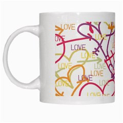 Love Heart Valentine Rainbow Color Purple Pink Yellow Green White Mugs