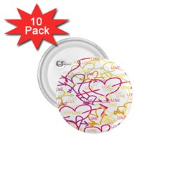 Love Heart Valentine Rainbow Color Purple Pink Yellow Green 1.75  Buttons (10 pack)