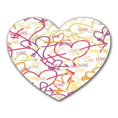 Love Heart Valentine Rainbow Color Purple Pink Yellow Green Heart Mousepads