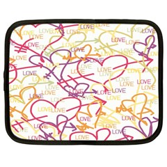 Love Heart Valentine Rainbow Color Purple Pink Yellow Green Netbook Case (Large)