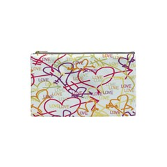 Love Heart Valentine Rainbow Color Purple Pink Yellow Green Cosmetic Bag (Small)