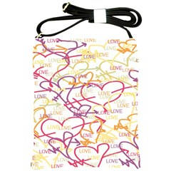 Love Heart Valentine Rainbow Color Purple Pink Yellow Green Shoulder Sling Bags