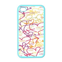 Love Heart Valentine Rainbow Color Purple Pink Yellow Green Apple iPhone 4 Case (Color)